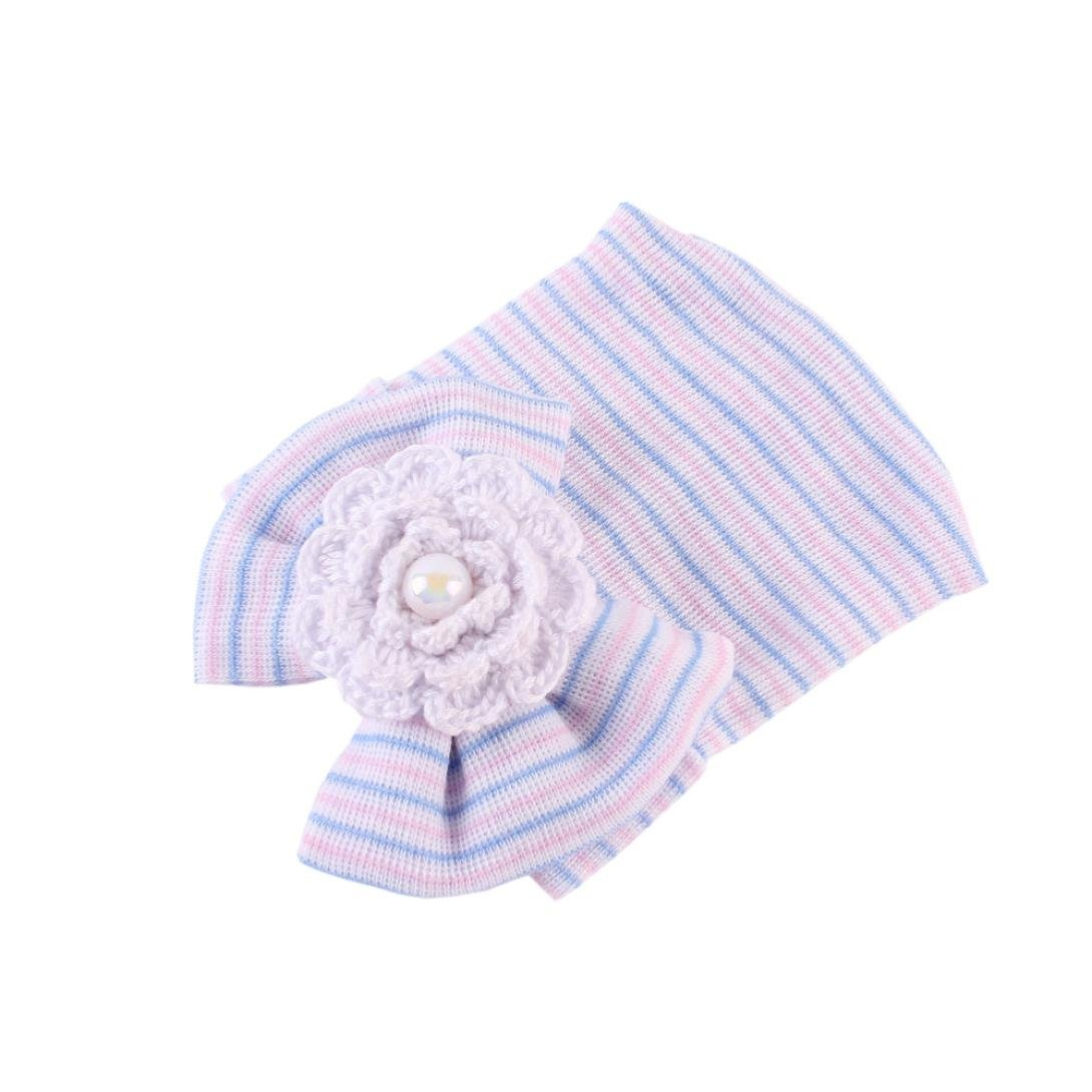 TONSEE Newborn Hospital Hat Newborn Baby Hats With Pretty Bow Flower Pearl TONSEE_A8947