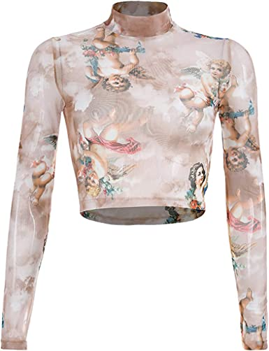 Camisetas para Mujer, Lenfesh Moda Mujer Cuello Alto Manga Larga Estampado Camisas Corta Top T-Shirt Verano Transparente Slim Fit Tops Sexy para Mujer: Amazon.es: Ropa y accesorios