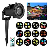 Christmas Projector Lights, JELEGANT LED Landscape Lights Projector Spotlights with Remote Control Waterproof Decoration Lighting with 12pcs Switchable Pattern Show for Halloween Holiday Party