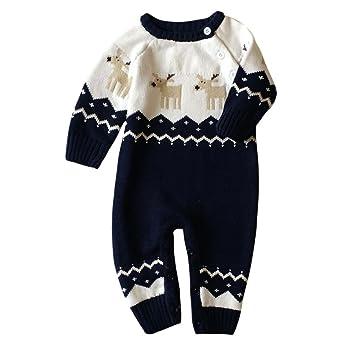 Vovotrade® Bebé Niños Niñas Navidad ropa bebé Pelele de punto infantil de impresión cuello redondo