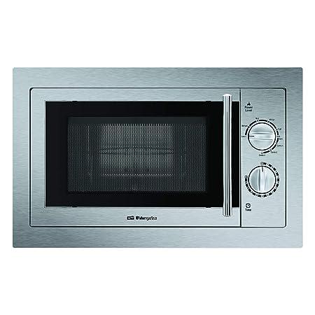 Orbegozo MIG 2033 - Microondas con grill integrable full INOX, 20 litros de capacidad, 9 niveles de potencia, potencia 800 W microondas y 1000 W grill