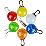 ペットライト Morpilot LED光る首輪 犬猫用 発光 安全ライト おさんぽ 防水 ペットIDタグ付き 犬夜 散歩 夜間 6個セット (ブルー、グリーン、オレンジ、レッド、イエロー、ホワイト)