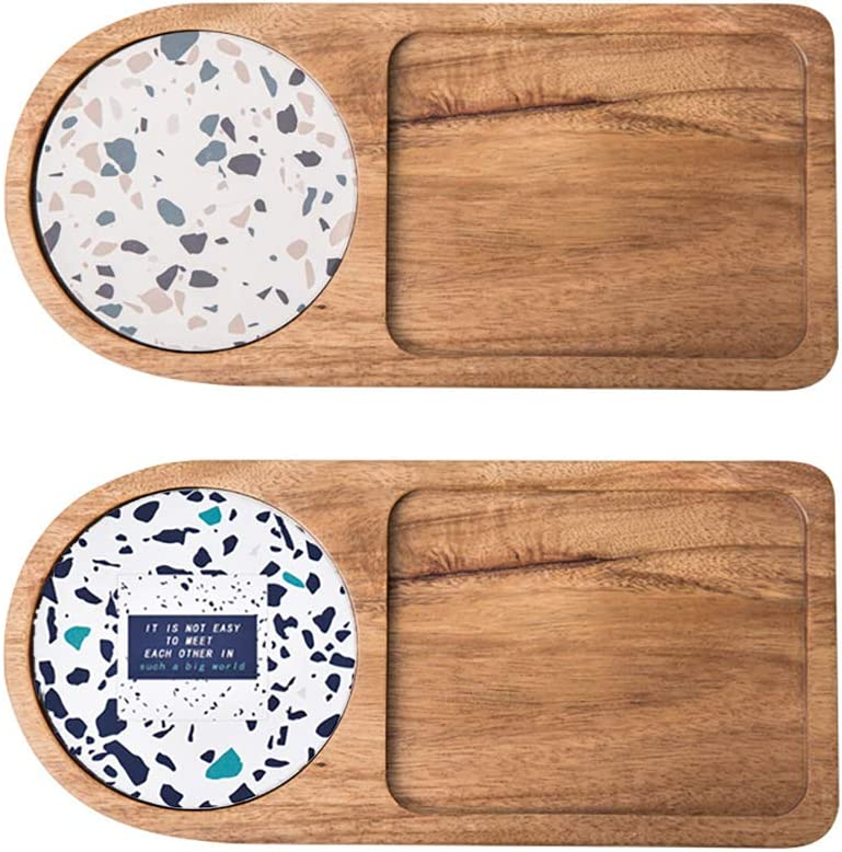 Wood Serving Platter with Coaster, 2 Pack 10.9 Inch Small Service Tray Party Plates Serve Foods Drinks Coffee Tea Cake Bread Stylish Breakfast Tray