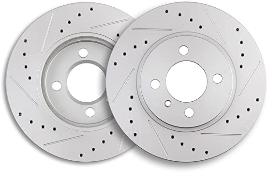 Rear Discs Brake Rotors and Ceramic Pads For BMW 325i 2006 E90 Drilled Slotted