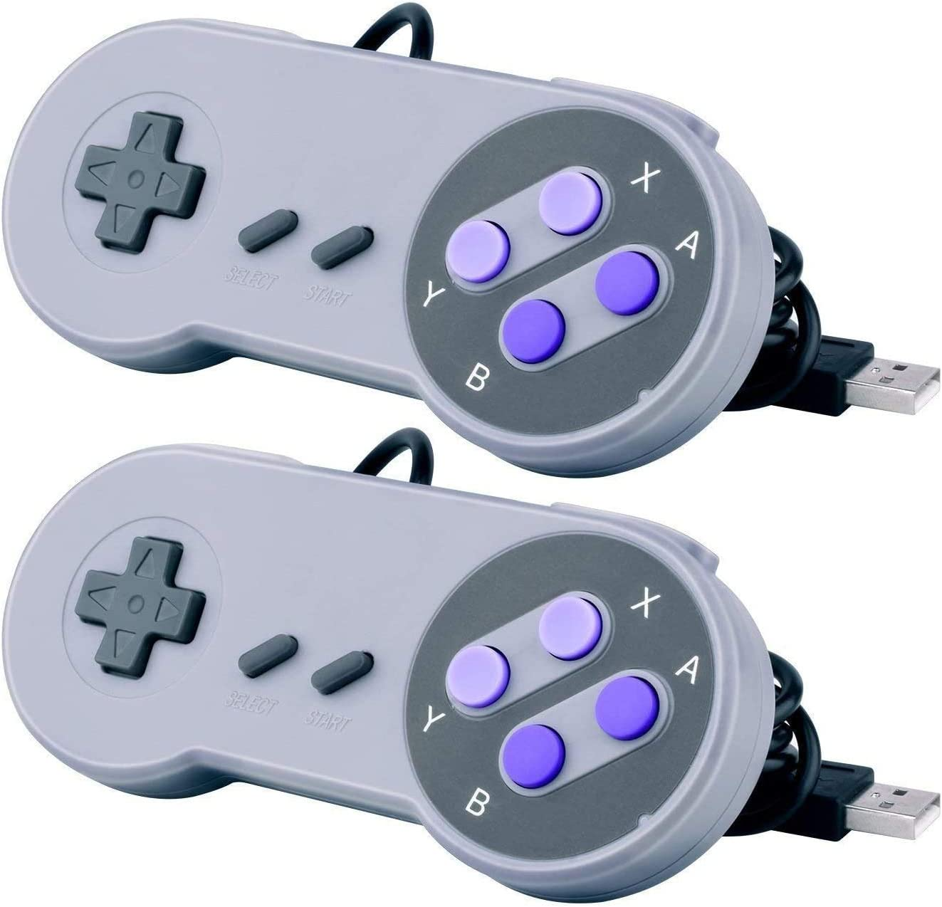Bundle 2 pcs USB Controller for Classic Super Nintendo NES SNES, USB Famicom Controller Joypad Gamepad for Laptop Computer Windows PC/MAC/Raspberry Pi