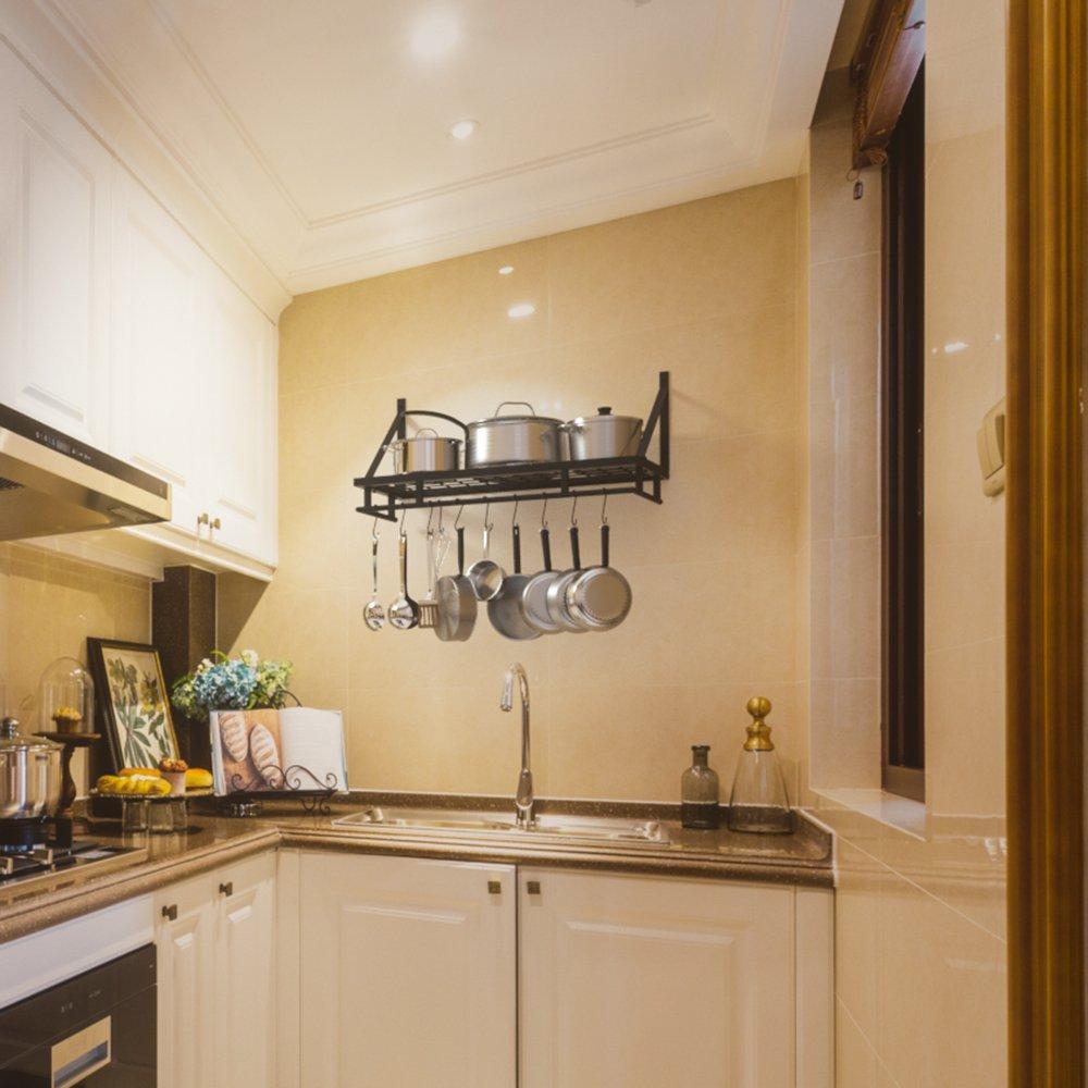 KES 24-Inch Kitchen Wall Mount Pot Pan Rack Wall Shelf With 10 Hooks Matte Black, KUR215S60-BK by Kes (Image #4)