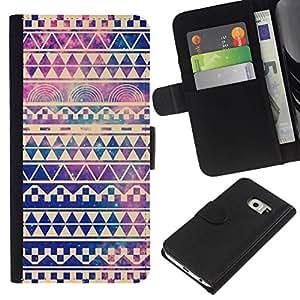 All Phone Most Case / Oferta Especial Cáscara Funda de cuero Monedero Cubierta de proteccion Caso / Wallet Case for Samsung Galaxy S6 EDGE // viñeta cielo universo patrón de chevron