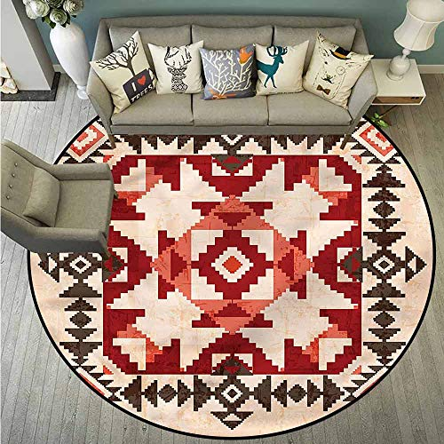 Price comparison product image Bedroom Round Rugs, Native American, Mayan Pyramids, Rustic Home Decor, 5'3""