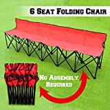 6 person chair - BenefitUSA Folding Portable Team Sports Sideline Bench 6 Seater Outdoor Waterproof- RED