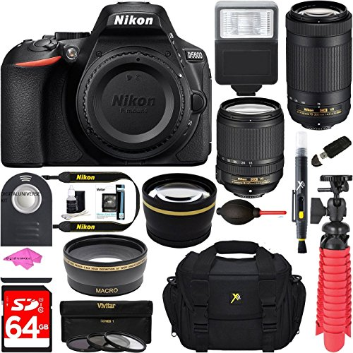 Nikon D5600 24.2MP DX-Format DSLR Camera + AF-S 18-140mm & 70-300mm ED VR Lens + Accessory Bundle PLUS MUCH MORE FREE ACCESSORIES USA RETAIL KIT by DigitalUniverse