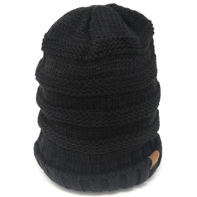 Chunky Knit Beanie Hat w Brown Tag 8b0b2717e