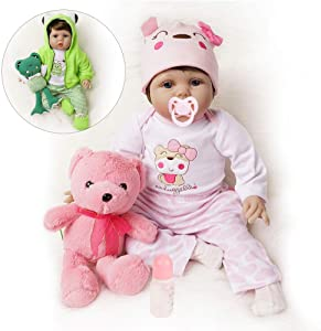 Yesteria Lifelike Reborn Baby Dolls Girl 2 Outfits Silicone Vinyl Cotton Body 22 Inches Pink Outfit with Toy Teddy Bear