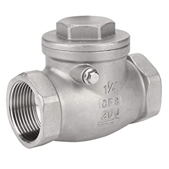 DN32 1-1//4 Swing Check Valve,Stainless Steel One Way Female Thread Non-Return Valve,200PSI Water Oil Gas Check Valve