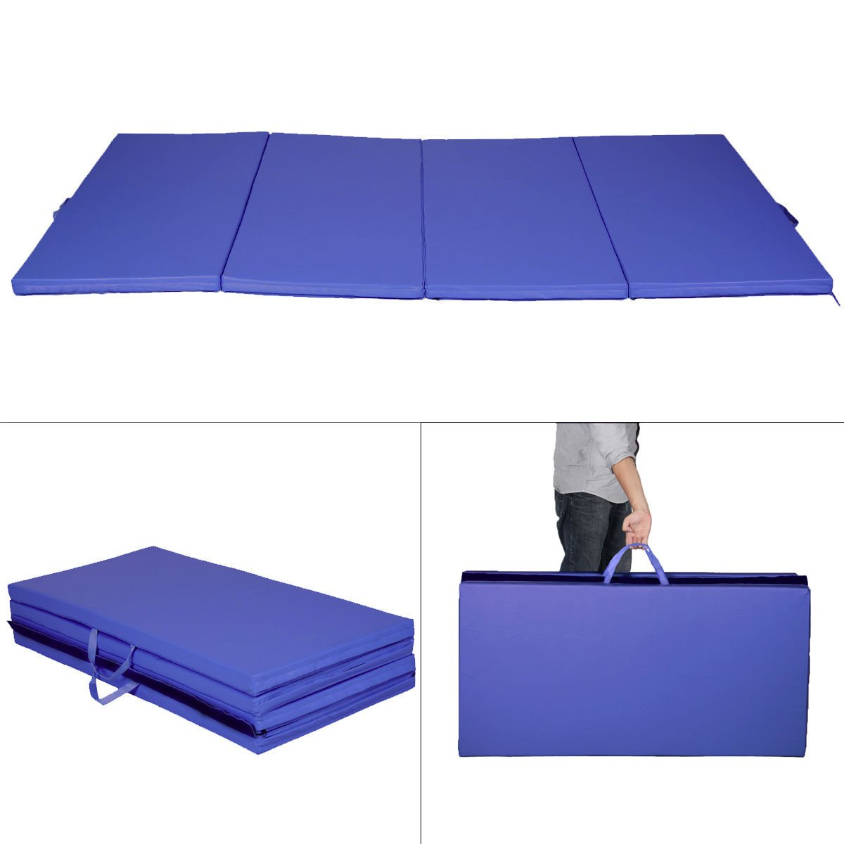 New Blue 4'x8'x2'' Gymnastics Mat Thick Folding Panel Gym Fitness Exercise Mat