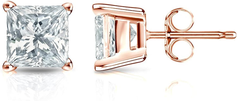 14k Rose Gold Princess Diamond Simulant Stud Earrings 4-Prong Basket 1//4-2cttw,Excellent Quality