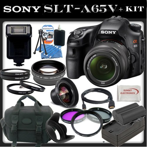 Sony a (alpha) SLT-A65 (A65v) – Digital Camera – SLR – 24.3 Mpix – Sony DT 18-55mm lens – SSE Package: 0.45x Wide Angle Lens, 2x Telephoto Lens, 3 Piece Filter Kit (UV,CPL,FLD) 4 Piece Macro Close-Up Kit, Replacement FM500H Battery, Rapid Travel Charger, Carrying Case, HDMI Cable, Flash and SSE Microfiber Cleaning Cloth, Best Gadgets