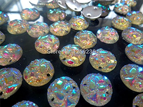 Round l accessories dazzlingly AB colour sew on crystal rhinestones beads gemstone hand sewing for dress 14mm 100pcs/lot - Ab 14mm Crystal Beads