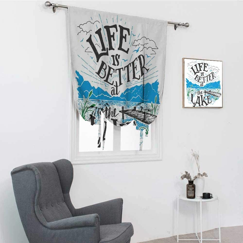 Cabin Decor Queen Size Blinds for Windows, Life is Better at The Lake Wooden Pier Plants Mountains Outdoors Sketch Tie Up Shade, Blue Black Green, 30