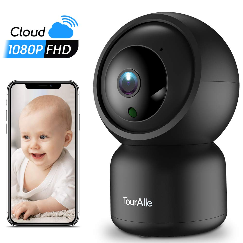 Home Security Camera - TourAlle 1080P Pet Dog Camera with Cloud Storage, Motion Detection & Remote Monitoring, Two-way Audio & Night Vision, 2.4Ghz Wifi Indoor Camer for IOS/Android by TourAlle