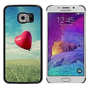 TopCaseStore / la caja del caucho duro de la cubierta de protección de la piel - Love Balloon Love - Samsung Galaxy S6 EDGE SM-G925