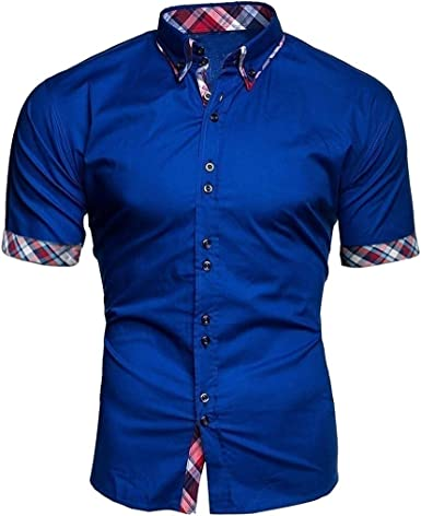VEZAD - Camisa de algodón Vaquero con Dos Bolsillos para Hombre, Manga Larga, Color Azul - Azul - M: Amazon.es: Ropa y accesorios