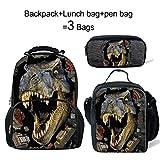 ThiKin Dinosaur Backpack+Lunch Bag+Pen Bag Set for Kids Go to School