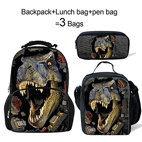 ThiKin Dinosaur Backpack+Lunch Bag+Pen Bag Set for Kids Go to School by ThiKin