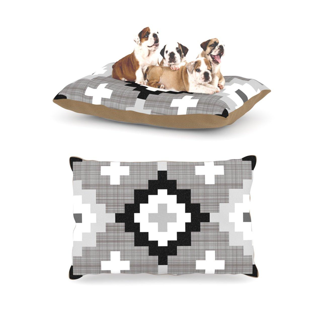 Linen Mgoldccan Large 30\ Linen Mgoldccan Large 30\ Kess InHouse Pellerina Design Linen Mgoldccan  Grey Geometric Dog Bed