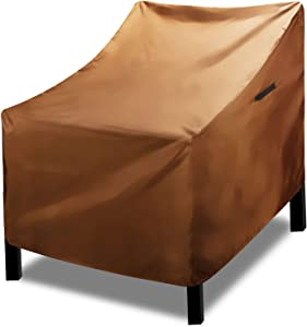 RosieLily Patio Chairs Cover Waterproof Windproof Coating Outdoor Furniture Covers with 2 Adjustable Click-Close Straps High Duty Covers for Patio Swivel Chair, 1 Pack, Brown