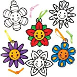 Baker Ross Smiley Flower Suncatcher Crafts for Kids (Pack of 8) Hanging Window Decoration Kit for Children to Paint - Creative Spring Craft Set for Kids