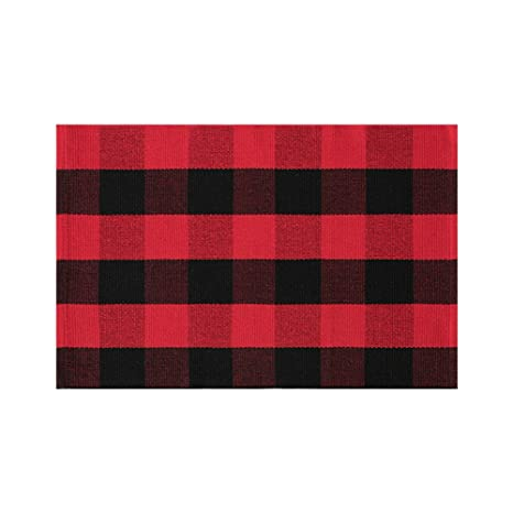 Fancyoung Buffalo Plaid Cotton Rug Nonslip Checkered Rugs Black Red Woven Outdoor Anti Slip Check Area Rug Plaid Entry Rug Washable Porch Rug Back