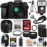 Panasonic Lumix DMC-G7 4K Wi-Fi Digital Camera & 14-140mm + 25mm f/1.7 Lens + 64GB Card + Battery + Flash + Tripod + Backpack + Tele/Wide Lens Kit