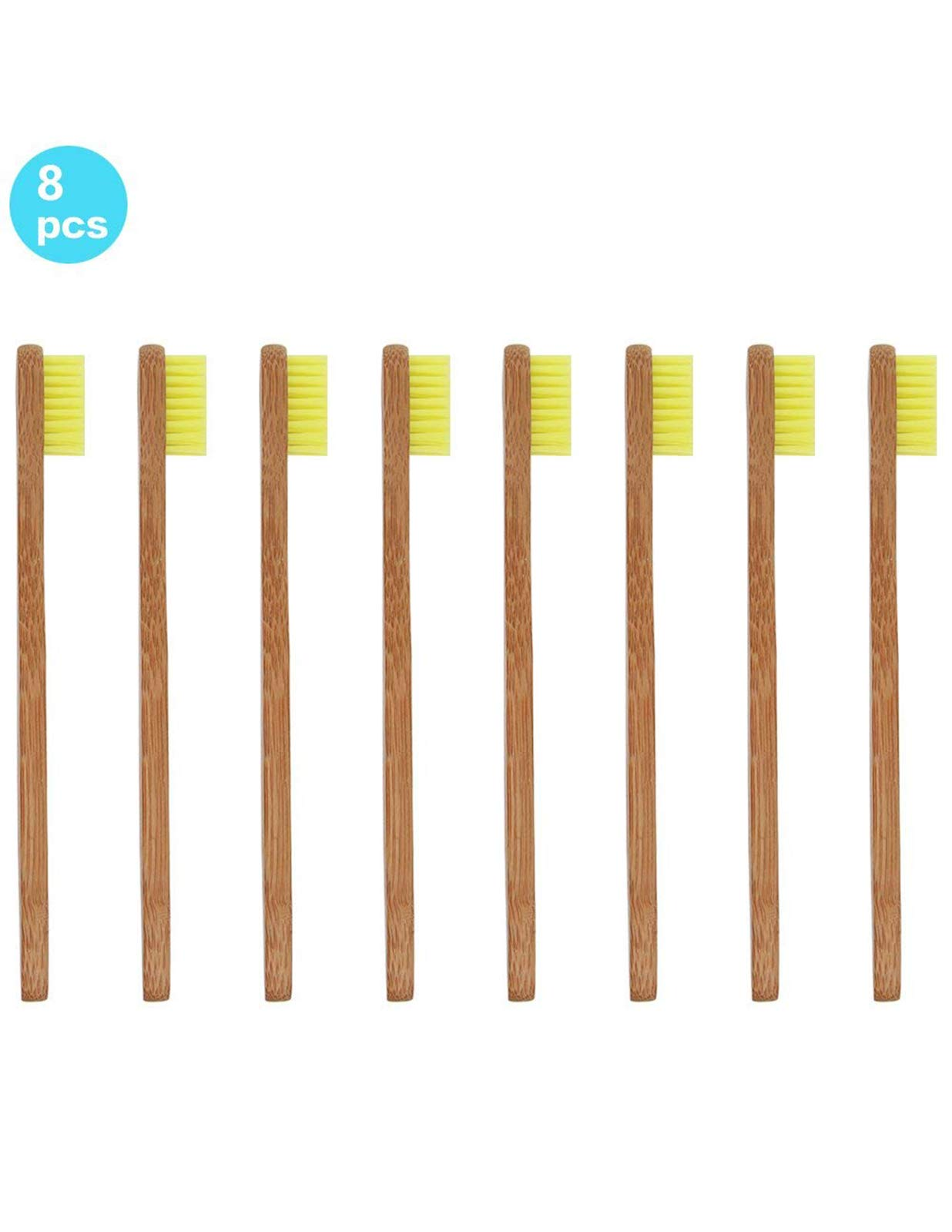 Bamboo Toothbrush for Kids Eco-Friendly biodegradable Bamboo Handles and BPA-Free Nylon Bristles For Natural Dental SoniFox 8Pcs Yellow Color