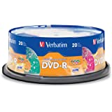 Verbatim 4.7GB up to 16x Kaleidoscope Recordable Disc DVD-R, 5 Colors (20-Disc Spindle) 97503