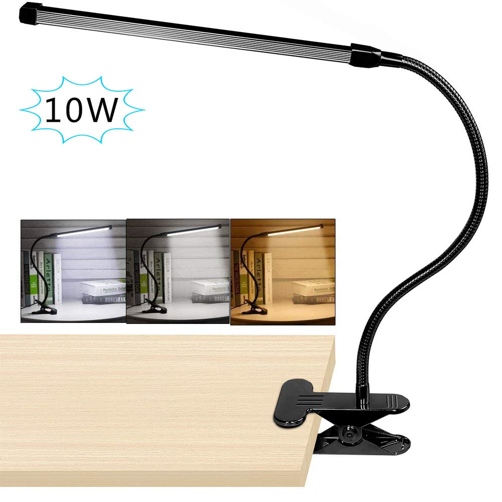 10W LED Clip on Lamp, Desk Light with 3 Modes 2M Cable Dimmer 10 Levels Clamp Table Lights