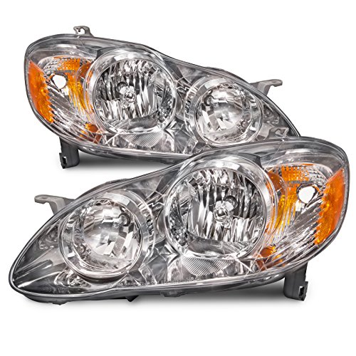 HEADLIGHTSDEPOT Compatible with Toyota Corolla CE/LE Model Headlights OE Style Replacement Headlamps Driver/Passenger Pair