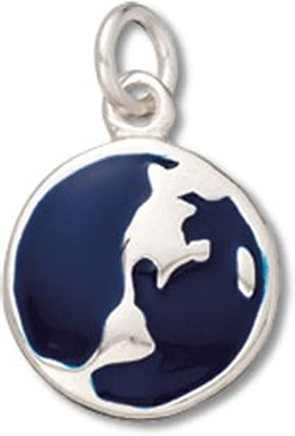 Sterling Silver Two Sided Enameled Blue Earth Globe Charm