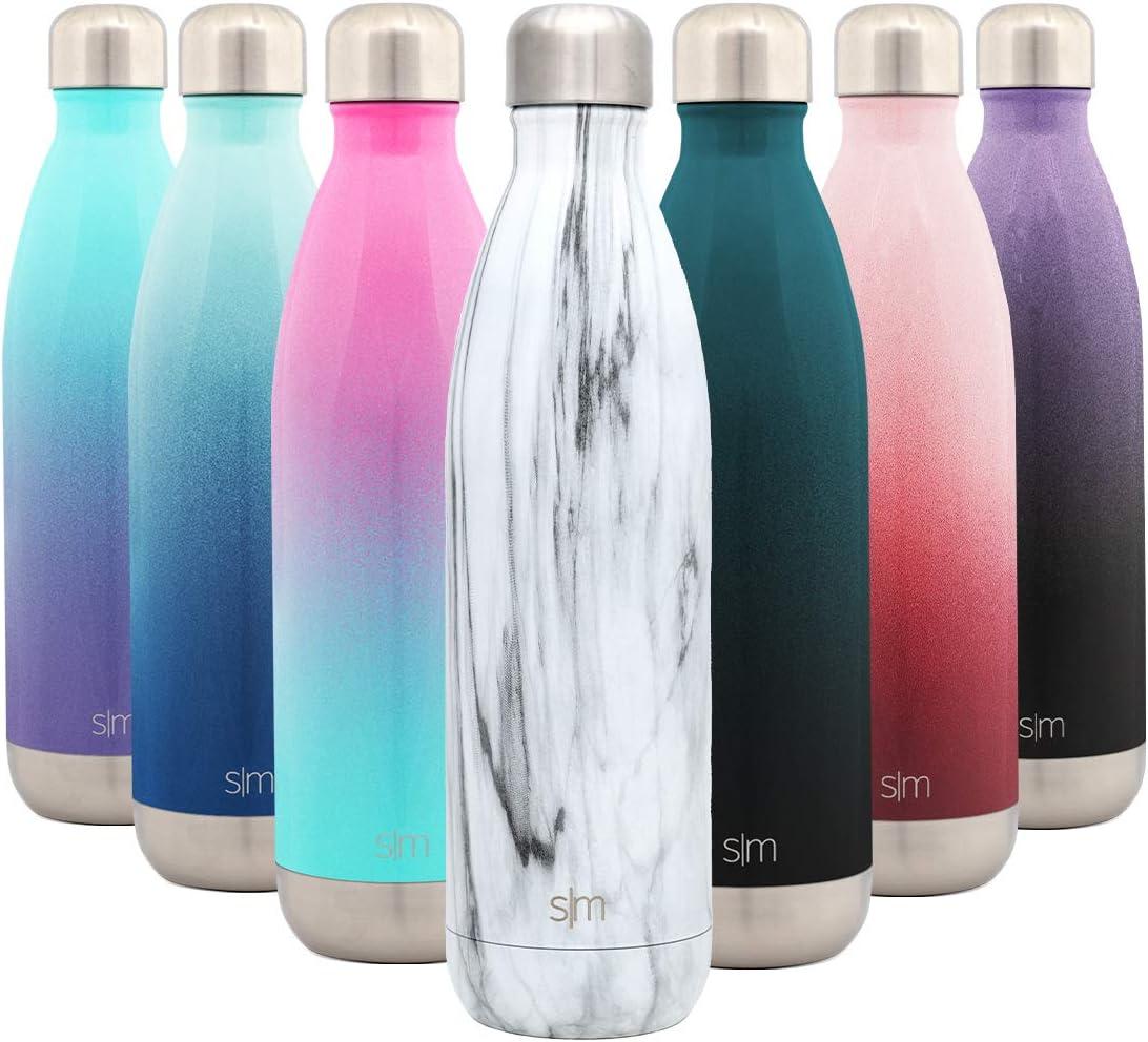 Simple Modern Wave 750ml Termo Botella de Agua Acero Inoxidable, Botella termica sin BPA Mantiene el Temperatura Aislada al Vacío Doble Pared para Deporte café o viaje Diseño: Mármol de Carrara