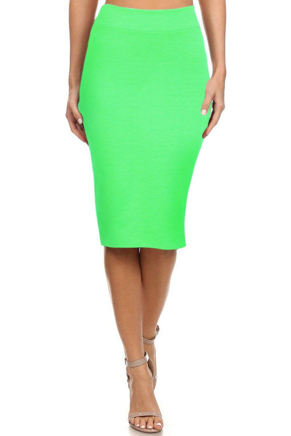 Simlu Women's Below the Knee Pencil Skirt for Office Wear - Made in USA, Lime, X-Large