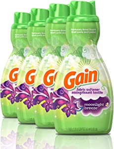 Gain Liquid Fabric Softener, Moonlight Breeze, 41 fl oz, 48 Loads (Pack of 4)