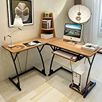 Soges L-shaped Desk Computer Workstation Desk with Shelf Home Office Desk, Teak SLD-TK