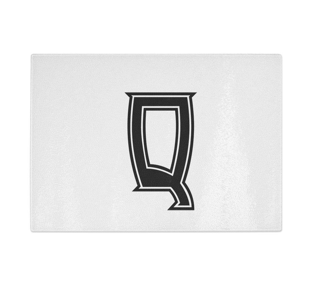 ''Q '' College Font Initial Monogram Letter Q Kitchen Bar Glass Cutting Board - 8 in x 11 in