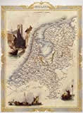 BIRD EYE VIEW HOLLAND NETHERLANDS DUTCH ROTTERDAM MAP VINTAGE POSTER REPRO