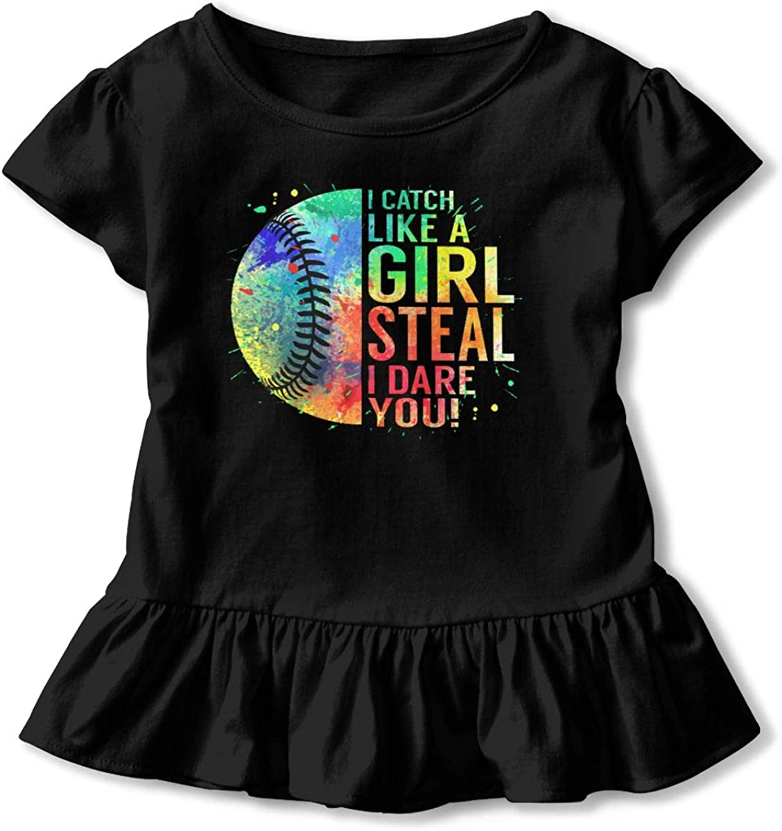 Shirt Baby Girls Ruffles O-Neck T Shirts for 2-6 Years Old Baby Black I Catch Like A Girl Steal I Dare You