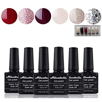 Allenbelle Esmaltes Permanentes Para Uñas Nail Art Soak Off Uv Led Esmalte Permanente De Gel Lot 6 Pcs 73mlpc 0002