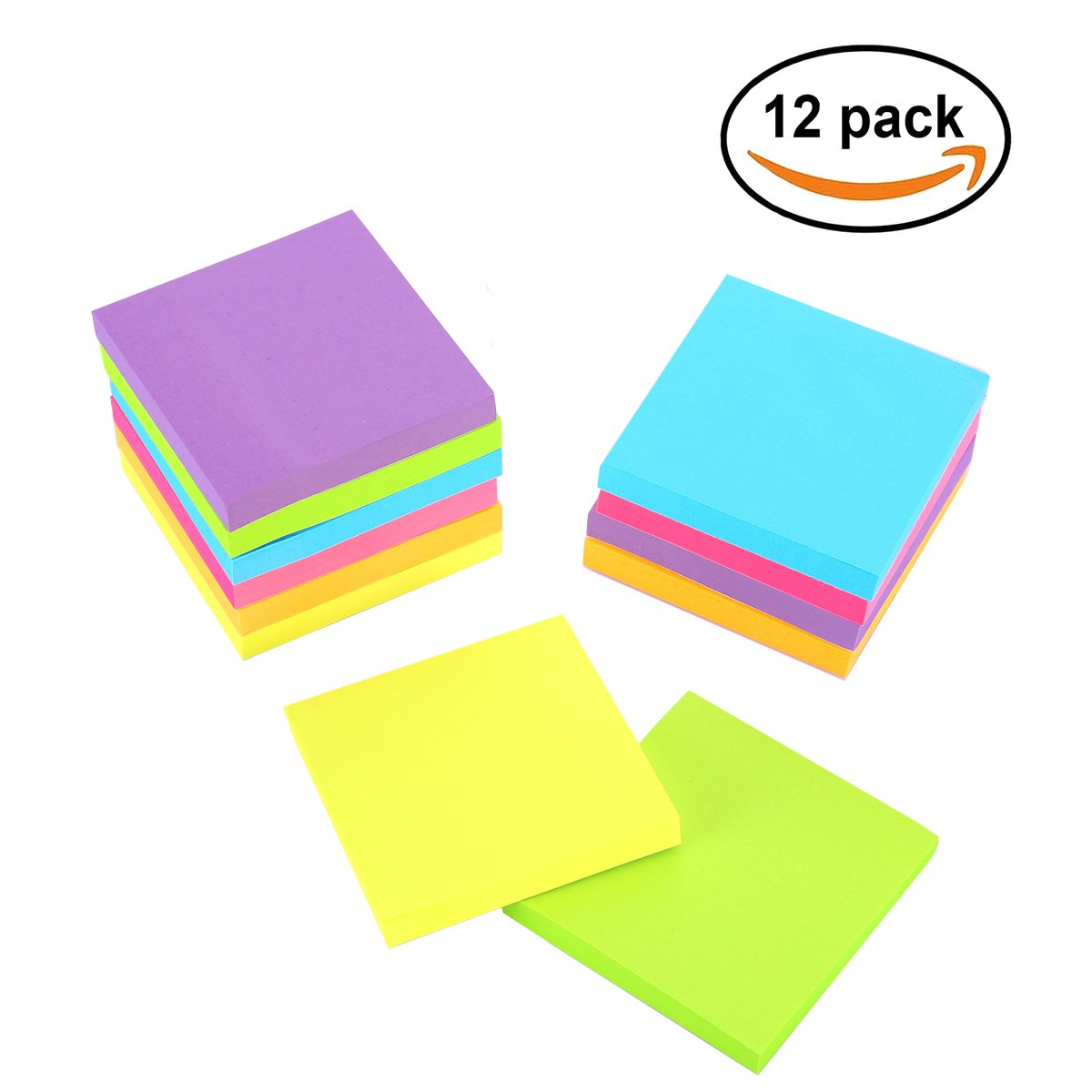Sticky Notes, 3 in x 3 in, 12 Pads/Pack,100 Sheets/Pad, 6 Bright Colors Self-Stick Notes for Home,Office, School, Easy Post. by ERBAO (Image #2)