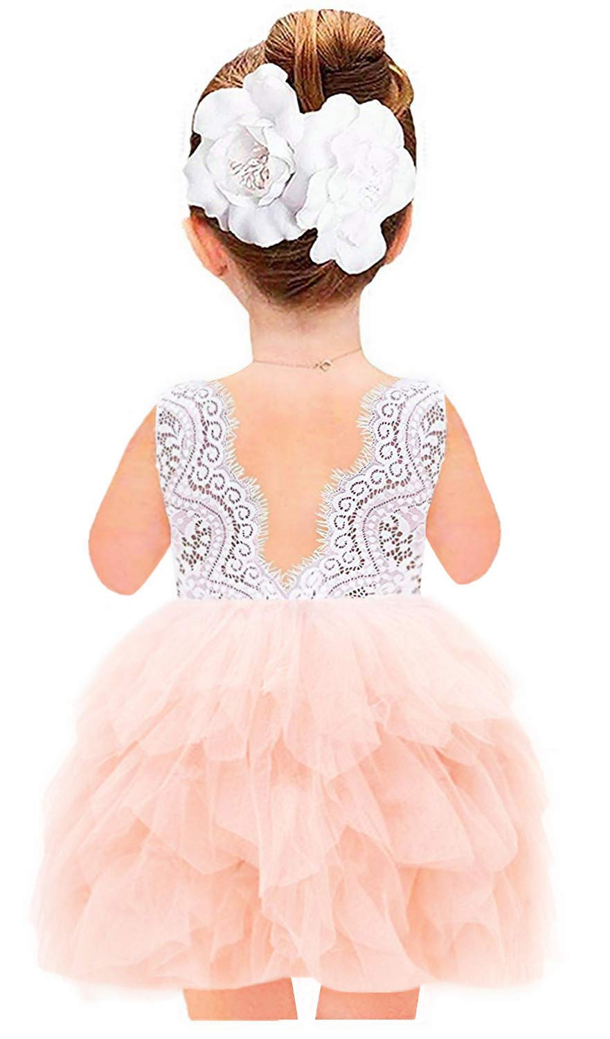 2Bunnies Girl Beaded Peony Lace Back A-Line Tiered Tutu Tulle Flower Girl Dress (Pink Sleeveless Short, 12 Months)