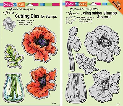 (Stampendous Pretty Poppies Stamps & Dies Set - 2 Item Bundle)