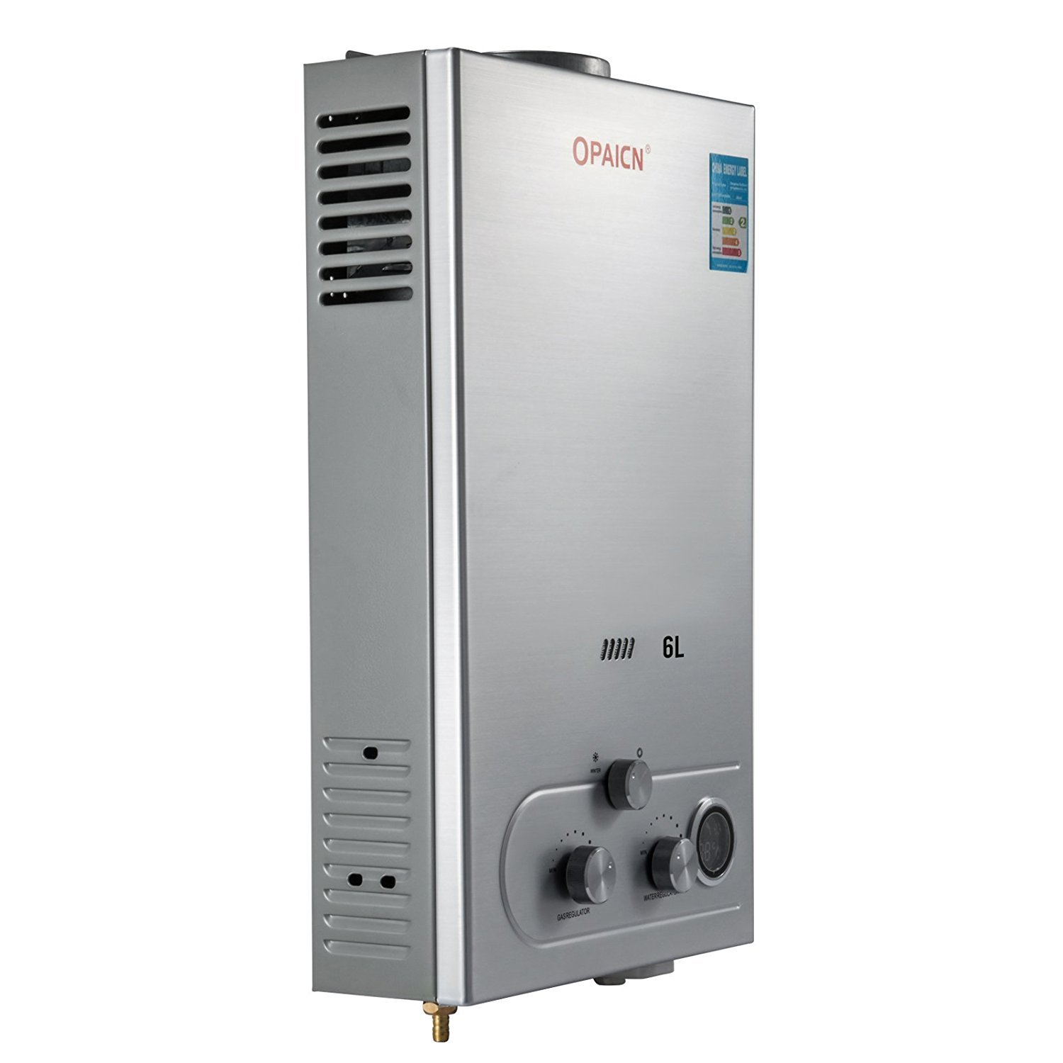 BuoQua 6L Propane Gas Hot Water Heater Digital Display High Efficient with Shower Head Wall-Mounted Water Heater 6L-LPG