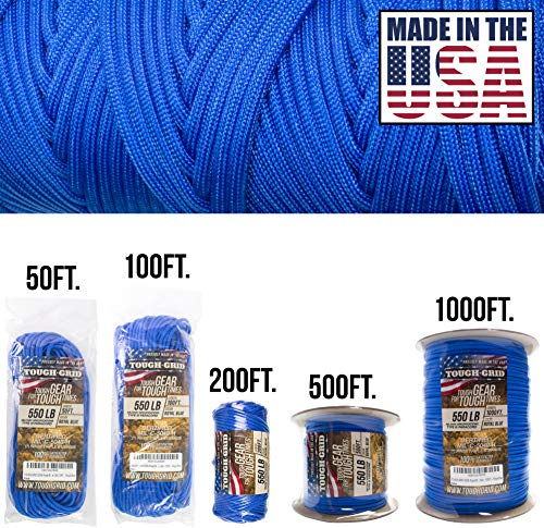 TOUGH-GRID 550lb Paracord/Parachute Cord - 100% Nylon Genuine Mil-Spec Type III Paracord Used by The US Military - Great for Bracelets and Lanyards - Made in The USA. 500Ft. - Royal Blue